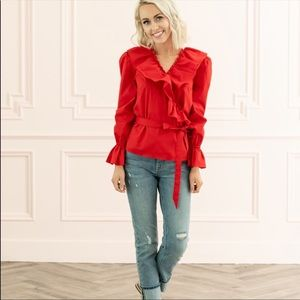 NWT Rachel Parcell Ruffle Wrap Top in Red Chinoise